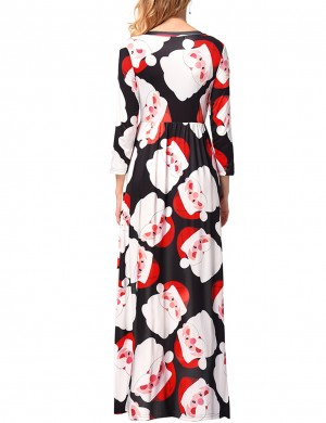 Appealing Large Size Xmas Print Dresses Maxi Length Natural Women