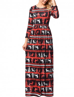 Attractive Plus Size Christmas Maxi Dress Long Sleeves Elastic Material