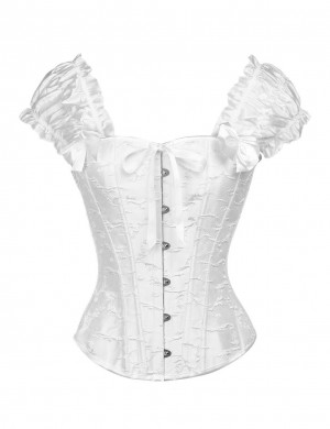Perfect-Fit White 12 Steel Boned Bow Overbust Corset With Thong