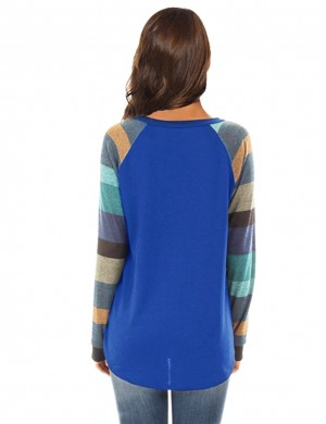 Exclusive Blue Irregular Splice Sweatshirt Banded Cuffs Fashion Insider