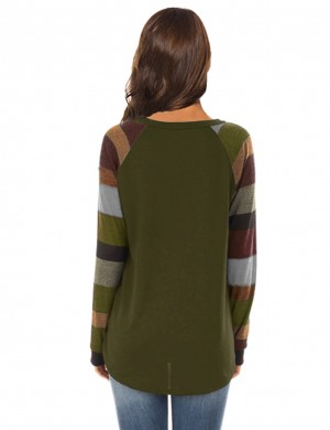 Snug Fit Green Stripes Round Collar Sweatshirt With Pocket Cheap Online Sale