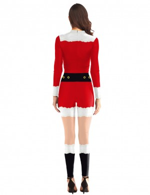 Fabulous Santa Claus Costumes Jumpsuit Back Zippers Tailored Quality