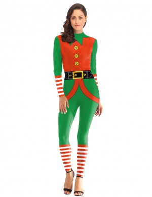 Versatile Stripe Christmas Costumes Rompers Full Sleeve Women's Fashion