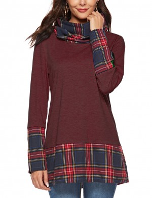 Stunning Wine Red High Collar Sweatshirts Full-Sleeved Women's Fashion