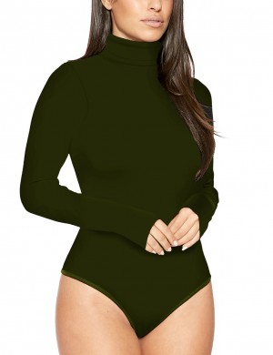 Leisure Army Green Long Sleeved Solid Color Bodysuit Button Trend For Women