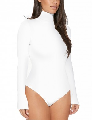 Women White Full Sleeved Bodysuit Snap Button Closure Natural Outfit