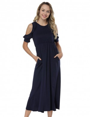 Frisky Navy Blue Midi Dresses Flounce Form Fitting Cold Shoulder