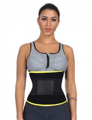 Flat Out Yellow Detachable Bone Back Waist Cincher Big Size Meticulous Design