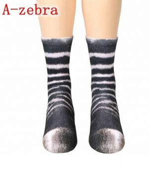 Sparkling Zebra Hoof Pattern Long Socks Digital Print Fashion