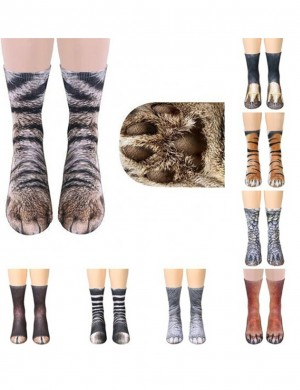 Explorer Digital Print Adult Socks Cats Paw Pattern Leisure Time