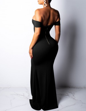Impeccable Black Off Shoulder Split Party Dresses Short Sleeves Ultra Sexy