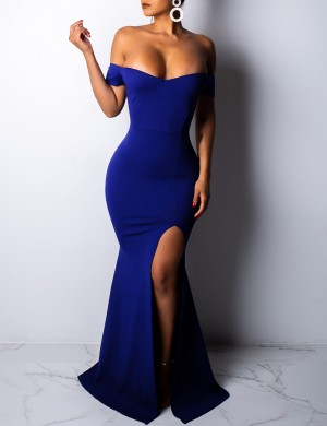 Ultra Sexy Navy Blue Slim Waist Maxi Evening Dress Bare Shoulders Weekend Fashion