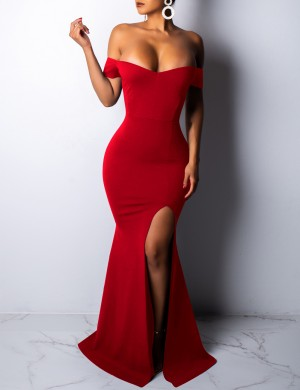 Gracious Red Split Floor Length Evening Dress Bare Shoulder For Sexy Women