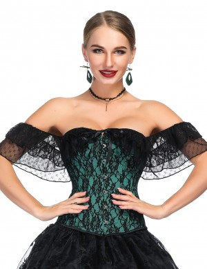 Unassuming Green Floral Lace Flounce Bustier Off Shoulder Strengthen