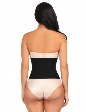 Functional Black Large Size Waist Slimmer Hook Closure Control Midsection