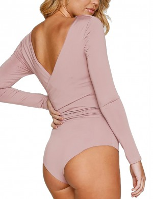 Relaxed Pink Ruched Plain Bodysuit Wrap V-Neck Cheap Wholesale