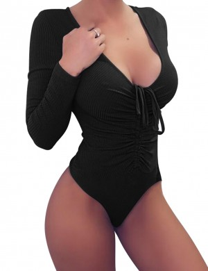Lovely Black Pure Color Tight Bodysuit Front Knot Delightful Garment