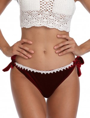 Breathable Red Velvet Bikini Bottom Pure Color Patchwork Tailored Quality