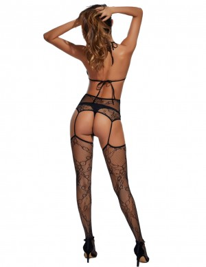 Pure Black Strappy Halter Bodystocking Lingerie Hollow Out Affordable