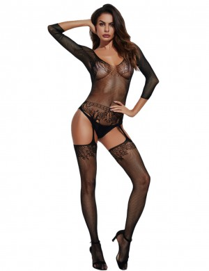 Dreamy Black Lace Bodystocking 3/4 Sleeves Fishnet Lingerie Slim All over