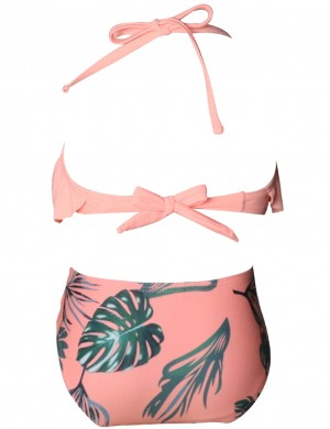 Cheeky Orange Halter Lace-Up Mom And Daughter Bikini Ruffle Holiday