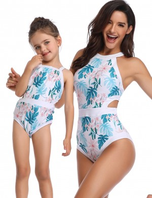 Modern One Piece Parent Child Swimsuit Flower Pattern Sexy Ladies