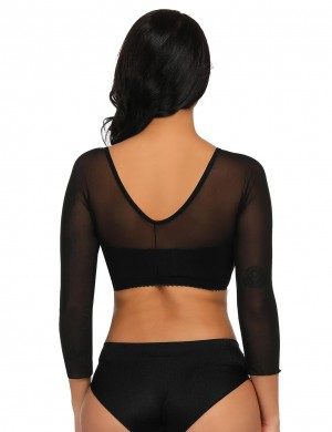 Durable Black Scalloped Shaping Crop Top Long Sleeves Slimming Stomach
