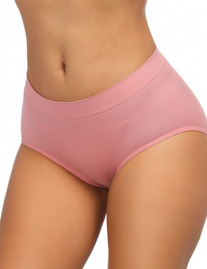 Captivating Light Pink Cotton Plain Butt Lifter Panty Mid Waist