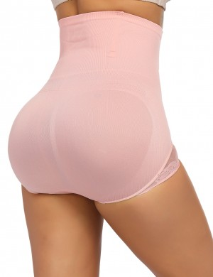 Sexy Light Pink Anti-Curling Butt Lifter Panty High Waist Distinctive Look