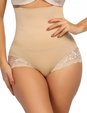 Strengthen Nude Scalloped Lace Shaping Panty Pure Color Supper Fashion