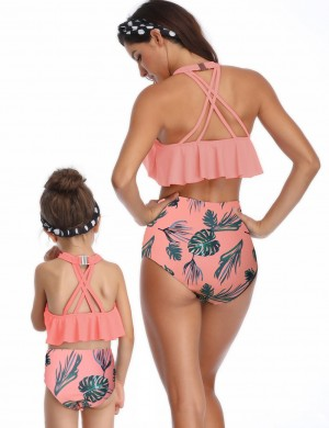 Unique Orange High Rise Flounce Mother Daughter Bikini Print Natural Women