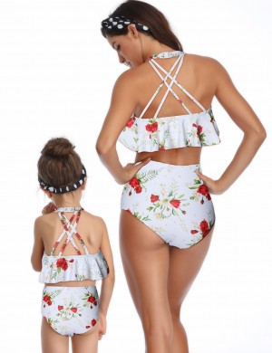 Fantasy White Halter Ruffle Family Swimwear High Rise Girls Fashion