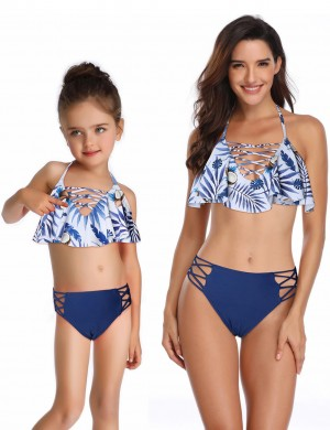 Exotic Blue Printed Cross Family Halter Bikini With Ruffles Ideal Choice