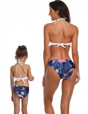 Sleek White Mom Kid Halter Strappy Bathing Suit Open Back For Women