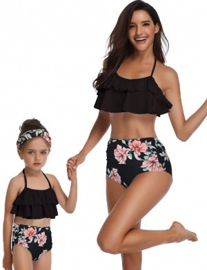 Awesome Mon Kid Ruched Bikini Halter Neck Flower Pattern Women's Apparel