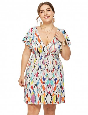 Flowery Plus Size Mini Dresses High Waist Tailored Quality