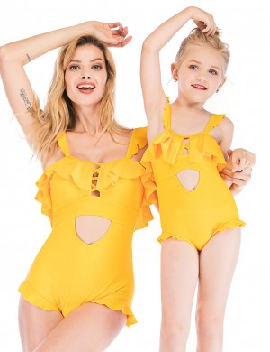 Feisty Yellow Cut Out Backless Mom Daughter Swimwear Flounce Feminine Charm