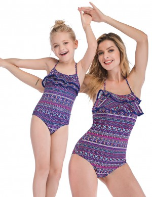 Bewitching Purple Frilled Halter Family Swimsuit Geometric Pattern Latest Styles