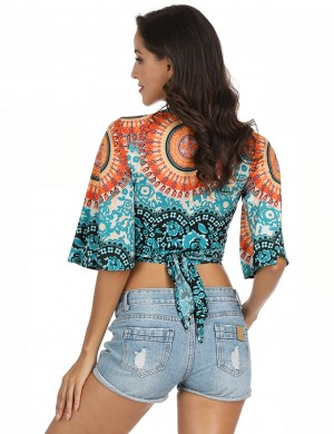 Super Trendy Sun-Protective Knotted Short Cover Ups Print Latest Fashion