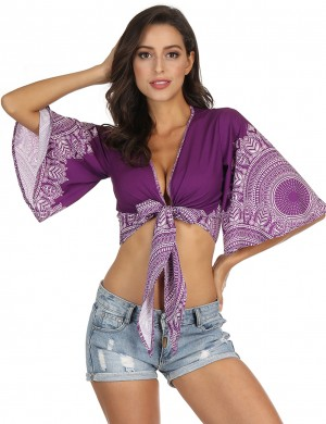Unforgettable Cropped Printed Beachwear Plunging Neck Latest Trends