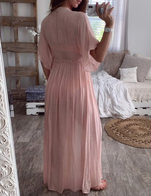 Sexy Pink Lace Detail Maxi Length Dress Natural Women Fashion