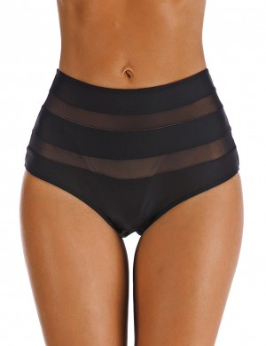 Beach Party Black Mesh Patchwork Big Size Bikini Bottom Perspective