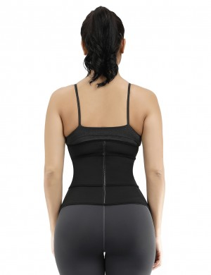 Remarkable Black Double Layer 7 Steel Boned Waist Trainer Plus Size