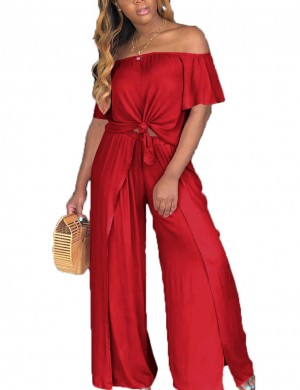 Athletic Red Ruched Split Wide Leg Pants Set Tie For Streetshots