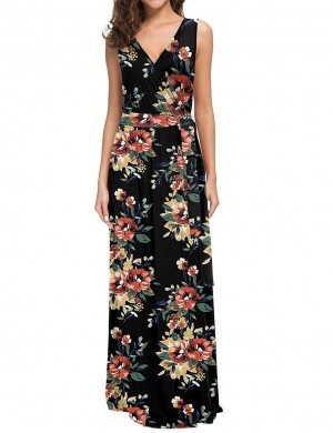 Effective Floral Wrap Knot Large Size Maxi Dress For Stunner