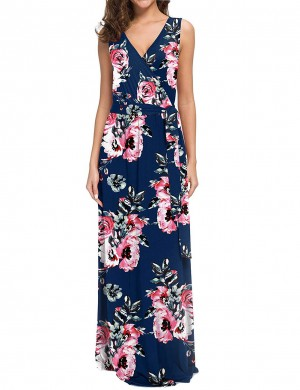 Silhouette Flower V Neck Tie Big Size Maxi Dress For Traveling