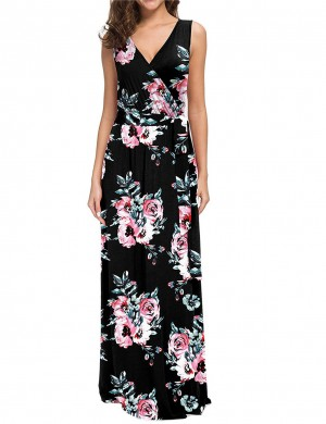 Pleasurable High Waist Floral Big Size Maxi Dress Casual Wear