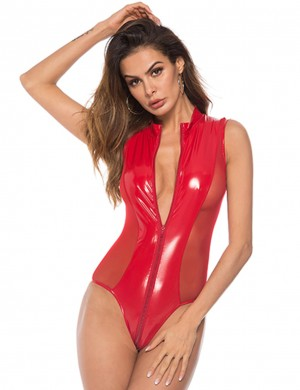 Favorite Leather Plus Size Red Mesh Teddy Zipper For Mature Female