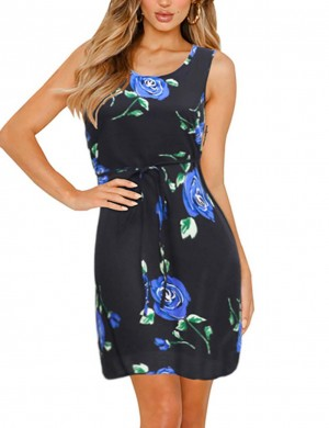 Delightful Sleeveless Zip Big Size Mini Dress Flower Women