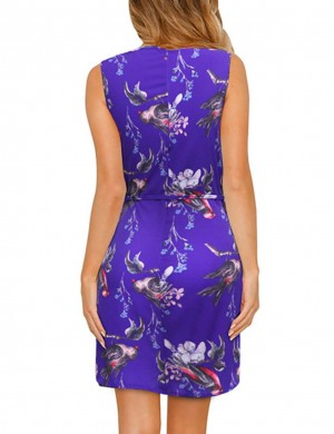 Flowing Print Wide Straps Big Size Mini Dress Tie Romance